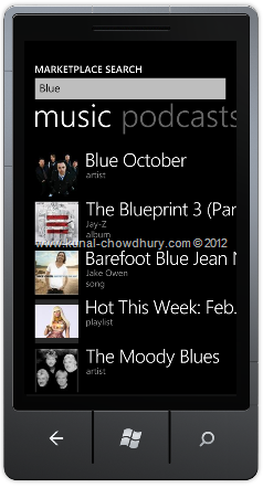 How to search in the WP7 Marketplace using the MarketplaceSearchTask