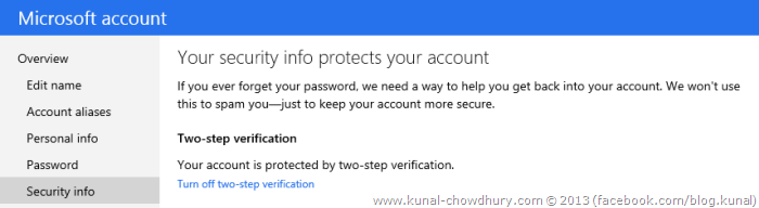 7. Turn off Microsoft two-step verification