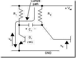 Gambar 4. Jalur Arus Melewati C1 ketika Q1 on