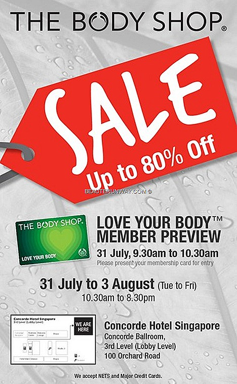 The Body Shop SALE Singapore Warehouse Skincare cosmetics bodycare haircare Concorde Hotel Orchard Ballroom Singapore