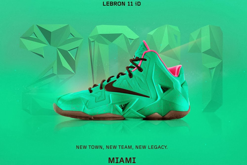 buy online b5e1b bac32 A Decade of Moments NIKEiD LeBron XI 8220South Beach8221 ...