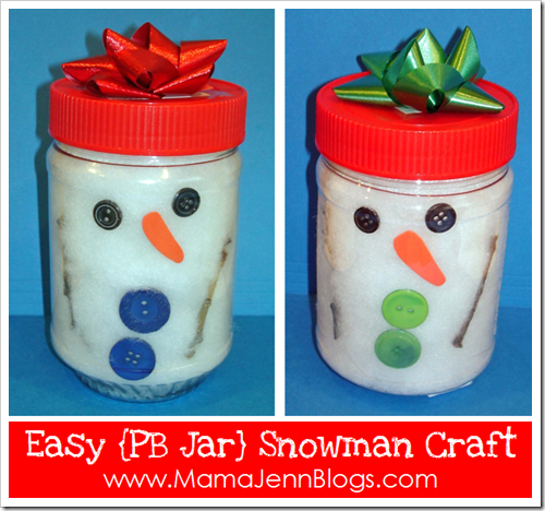 Easy Snowman Craft for Little Ones Using a PB Jar