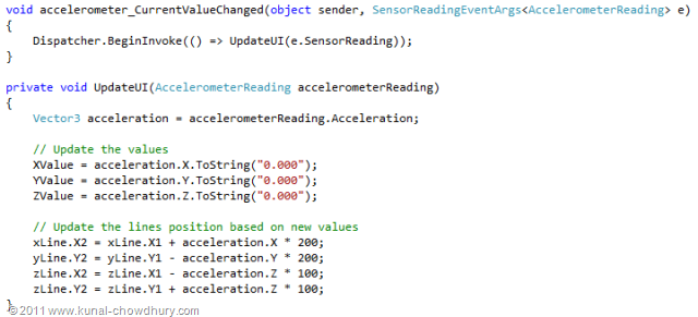WP7.1 Demo - Accelerometer - Update the UI based on Current Value Change