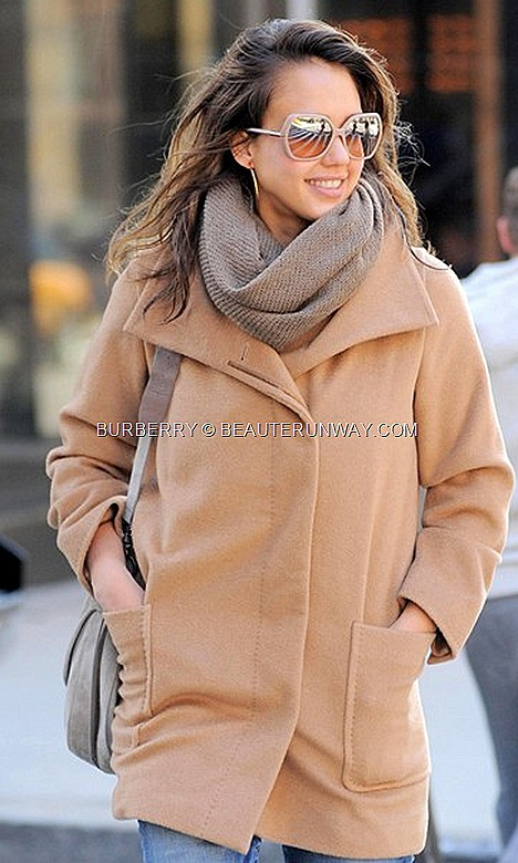 Jessica Alba Burberry Nude Shades Eyewear  oversized nude faceted frames acetated distinctive tubular arms polished metallic
