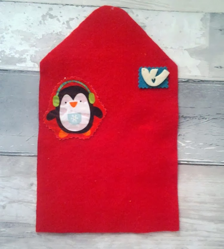 DIY felt envelope with penguin