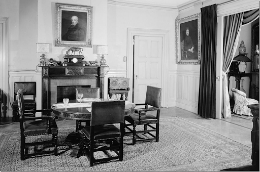 Past The Curtains In The Dresden Room At Springwood Is The Dining Room.