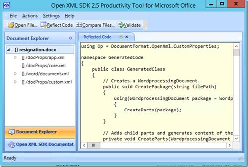Using the OpenXML SDK Productivity Tool to