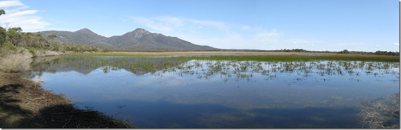 Harzards Lagoon panorama and Mounts Graham and Freycinet