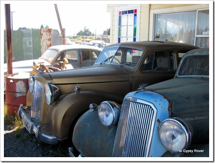 Humber Super Snipe and Austin Princess at Smash Palace in Horopito.