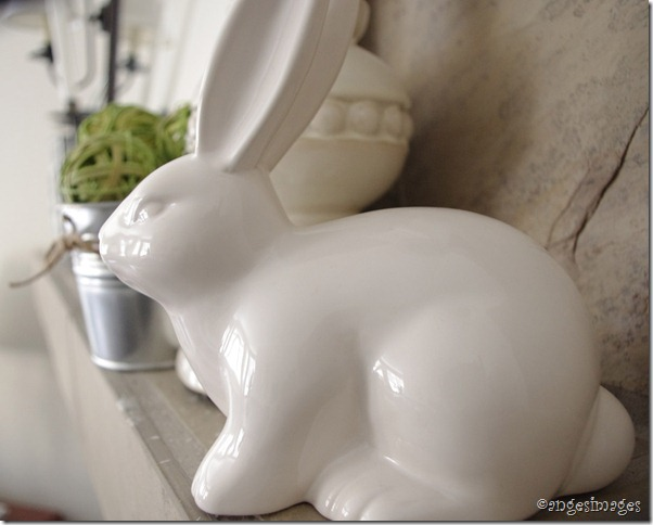Spring Mantel with ceramic rabbit and IKEA flowerpots and lantern