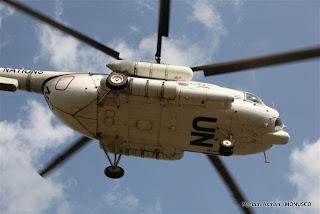 Hélicoptère de la MONUSCO, Kisangani, décembre 2010.