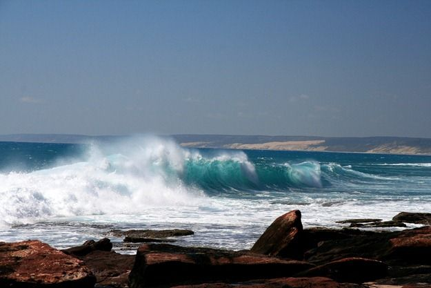 Waves carshing on the coastline of Kalbarri Western Australia