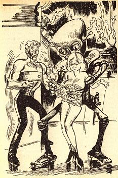 One of the illustrations by Summers accompany the short story Playboy and the Slime God by Isaac Asimov in Great Science Fiction from Amazing, #1. Image shows the alien coaxing the woman it has kidnapped into removing her cloths.
