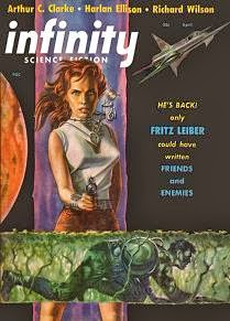 Cover by Ed Emsh of Infinity Science Fiction, April 1957 issue. Image illustrates the story The Martian Shore by Charles L Fontenay.