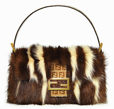 FENDI FUR BAGUETTE BAG zucchino print luxurious mink iconic designs fur trim double F gold matt hazlnut brown leather clasp python skin, calf skin, pony hair, sequins, beads, crystals, cashmere, wool, knitted yarn, denim, tie-dye