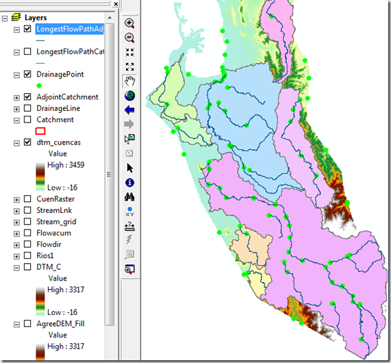 Longest Flow Path for Adjoint Catchments