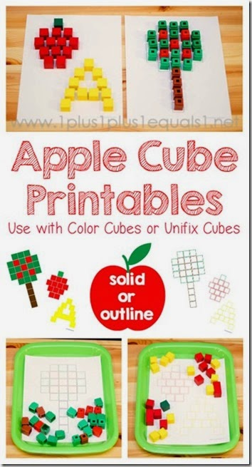 apple cube printable mats #preschool #apples #math #kindergarten
