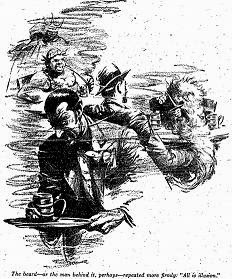 One of the illustrations by F Kramer, accompanying the original publication in Unknown magazine of short story All is Illusion by Henry Kuttner and C L Moore. Image shows the scene in the bar where the protagonist will fight with the midget magician.