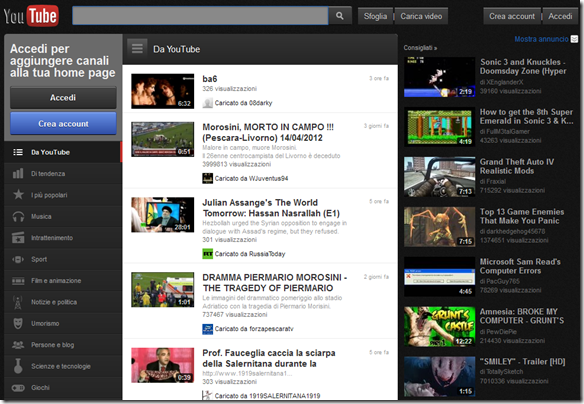 Youtube Black Theme Home Page di YouTube