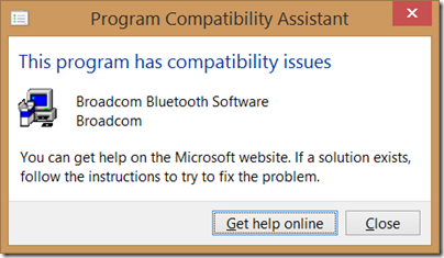 Window Program Compatibility Assistant warning dialog