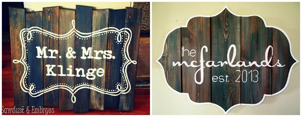 Barn Board Signs by Sawdust and Embryos