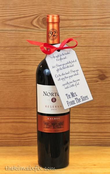 Teacher gift wine