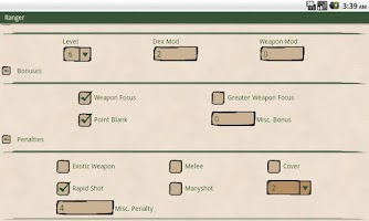 Screenshot of Ranger Attack Calculator