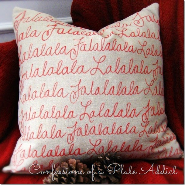 CONFESSIONS OF A PLATE ADDICT No-Sew Pottery Barn Inspired Falalala Pillow