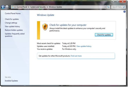 cek for update Windows