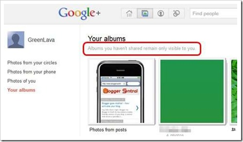 google plus unshared photos not visible to others