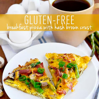Gluten-Free Breakfast Pizza with Hash Brown Crust.