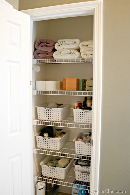 organized linen closet