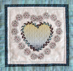Heart with Pattern Fill and Color Gradient. Two Contours made of Motif Stitches