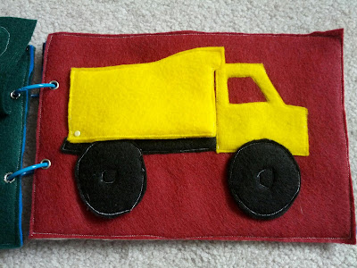 Dump truck quiet book page from And Next Comes L