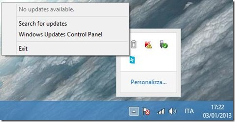 Windows 8 Update Notifier menu contestuale