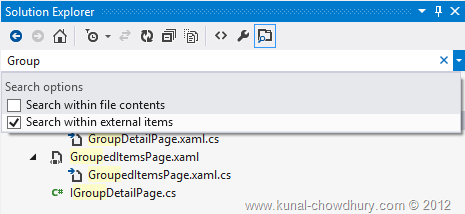 Search Filter changed in Visual Studio 2012 Solution Explorer