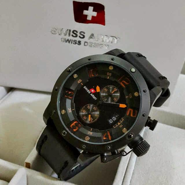 Jual jam Swiss Army Crono black leather list orange Original