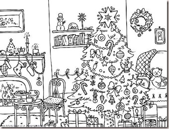 teaching the little ones english christmas colouring pages