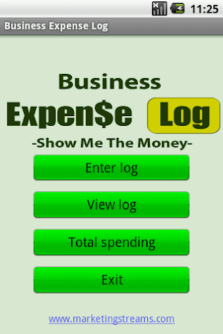 Business Expense Log Screenshot