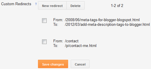 Custom Redirect Settings Blogger