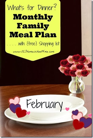 FREE February Family Meal Planner with weekly printable grocery lists