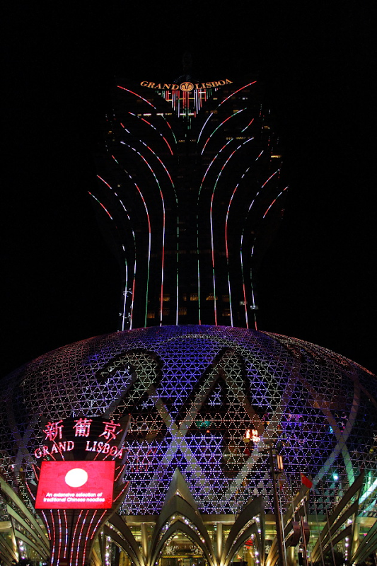 Vibrant Grand Lisboa Hotel at Night