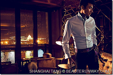 Shanghai Tang Autumn Winter 2011 Men 3 buttons collar shirt contrast black trim wool tuxedo pants chinese coins silk scarf with tassels