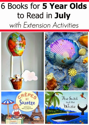 July Book Picks for 5 year olds and extension activities to go with them