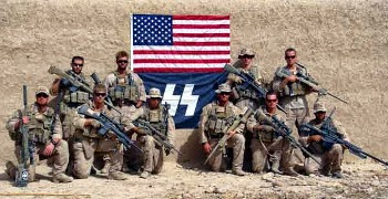 marines posing with US and SS flags in Afghanistan