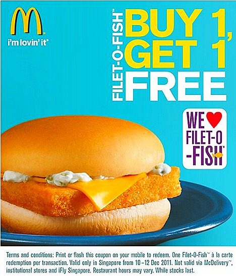 McDonalds Filet O Fish One for One Singapore offers