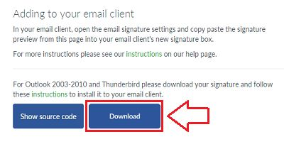 Email signature HTML