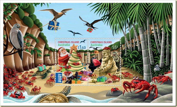 Island Christmas Theme.Rainbow Stamp Club Christmas Stamps From Christmas Island