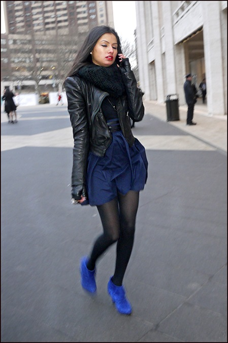 w black leather jacket and fingerless gloves big black scarf blue skirt and shoes  ol