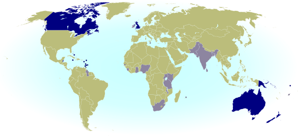 Map of the Commonwealth Realms - independent countries which share the British monarchy.
